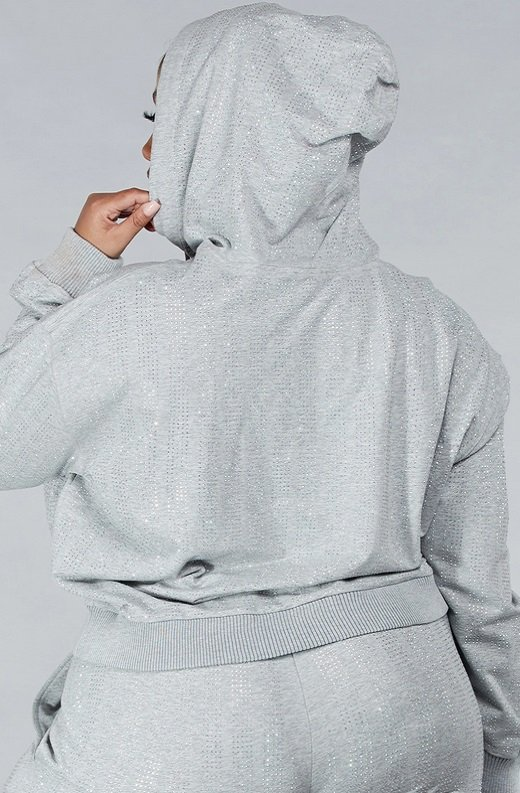 Gray Rhinestone Embellished Two Piece Hoodie Set Plus Size 6