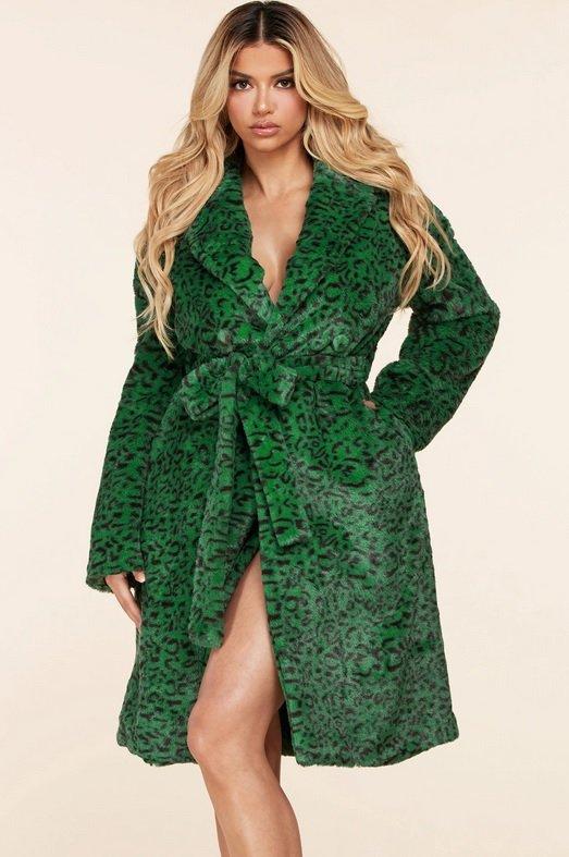 Hunter Green Faux Fur Leopard Print Coat 1