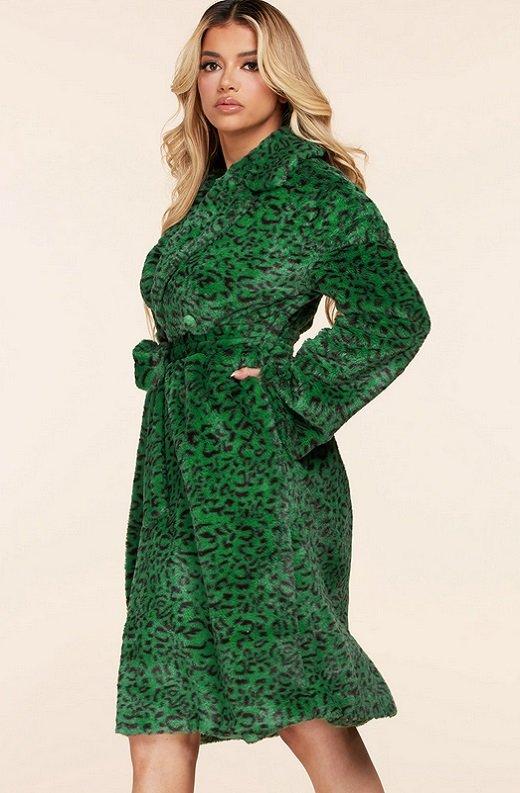 Hunter Green Faux Fur Leopard Print Coat 2