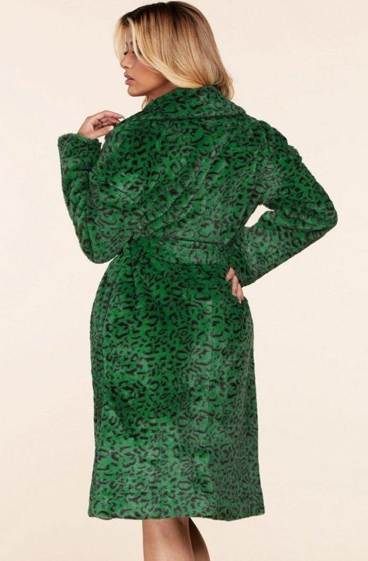 Hunter Green Faux Fur Leopard Print Coat 3