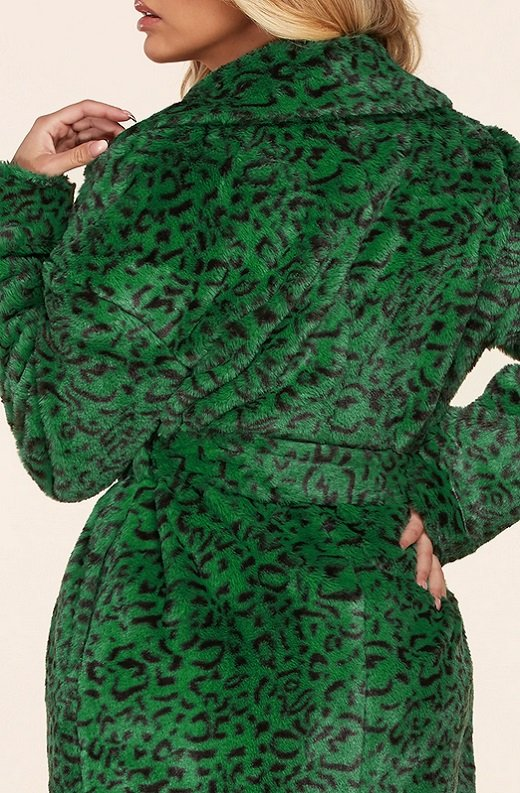 Hunter Green Faux Fur Leopard Print Coat 5