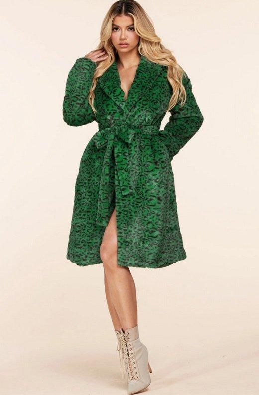 Hunter Green Faux Fur Leopard Print Coat 6