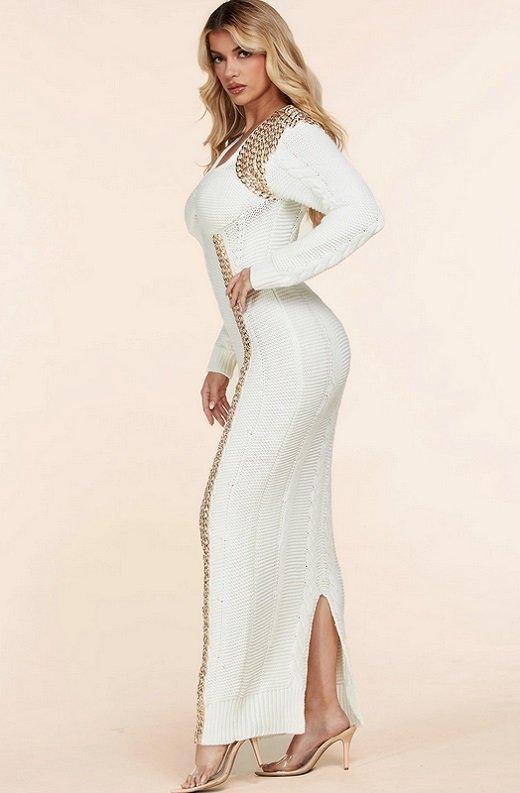 Ivory Long Sleeve Golden Chain Maxi Knit Sweater Dress 3