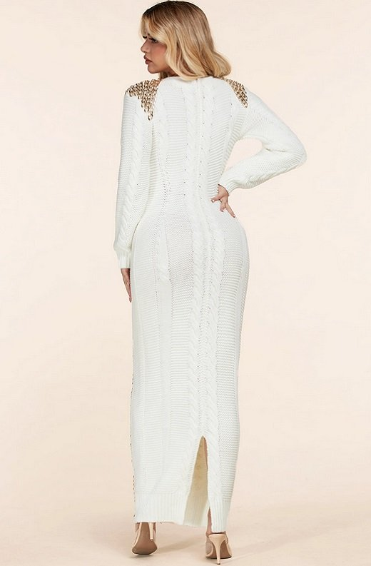 Ivory Long Sleeve Golden Chain Maxi Knit Sweater Dress 4