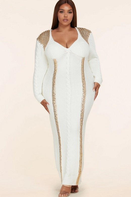 Ivory Long Sleeve Golden Chain Maxi Knit Sweater Plus Size Dress 1