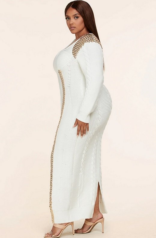 Ivory Long Sleeve Golden Chain Maxi Knit Sweater Plus Size Dress 2
