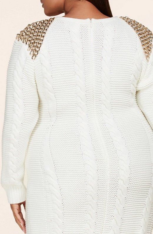Ivory Long Sleeve Golden Chain Maxi Knit Sweater Plus Size Dress 5