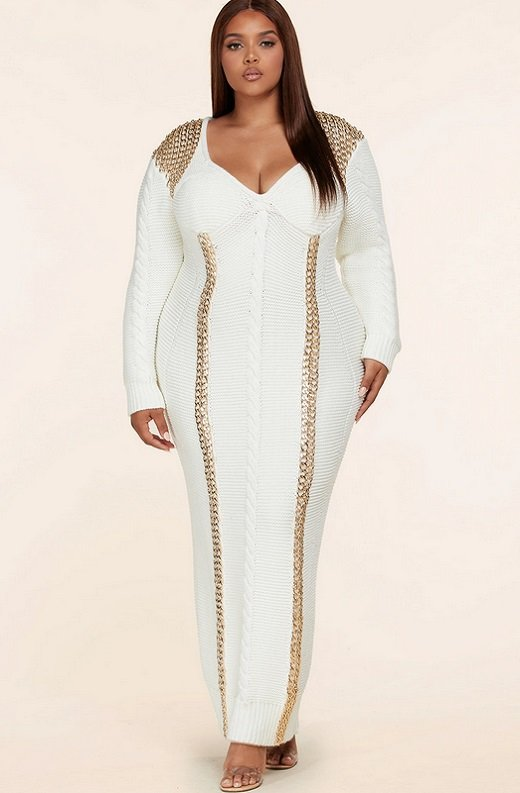 Ivory Long Sleeve Golden Chain Maxi Knit Sweater Plus Size Dress 6
