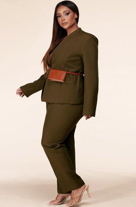 Olive Notched Lapel Belted Blazer Set Plus Size 2