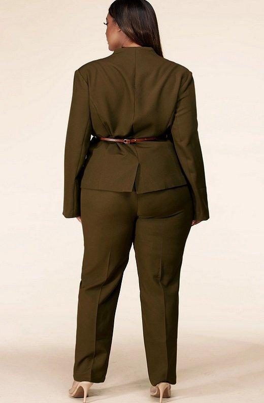 Olive Notched Lapel Belted Blazer Set Plus Size 3
