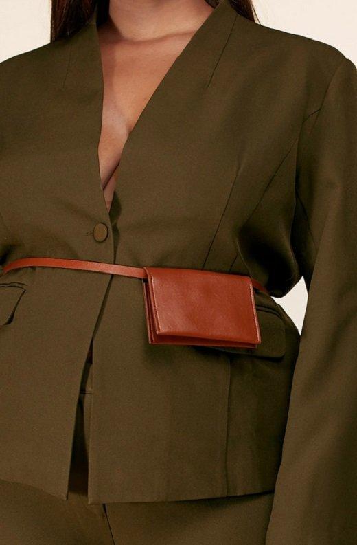 Olive Notched Lapel Belted Blazer Set Plus Size 4