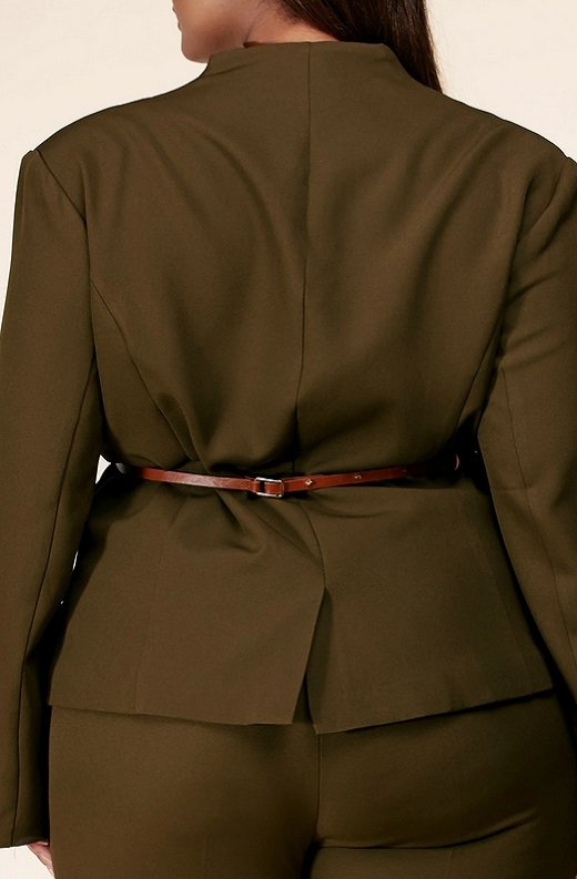 Olive Notched Lapel Belted Blazer Set Plus Size 5