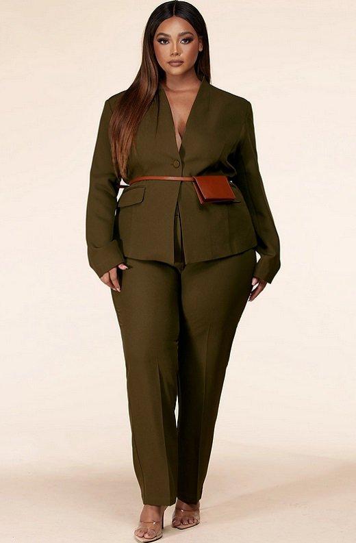 Olive Notched Lapel Belted Blazer Set Plus Size 6