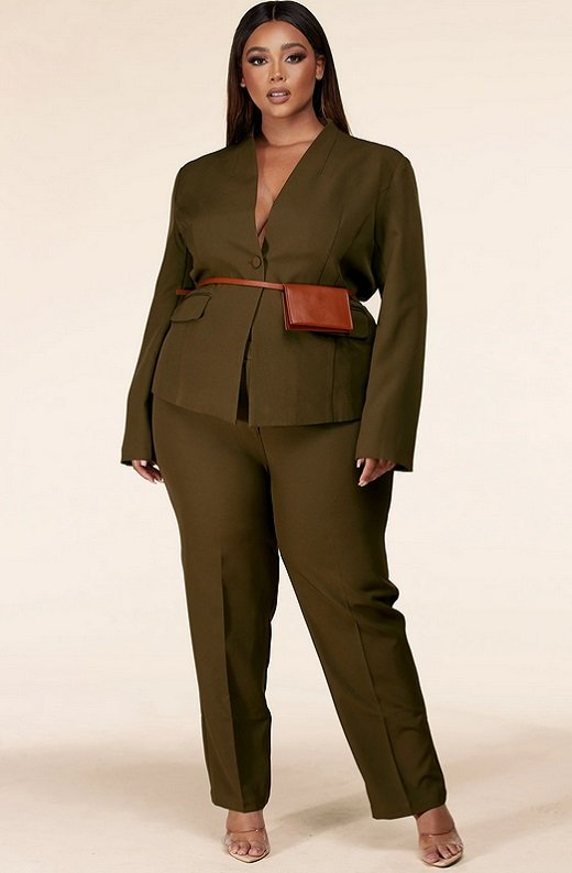 Olive Notched Lapel Belted Blazer Set Plus Size 7
