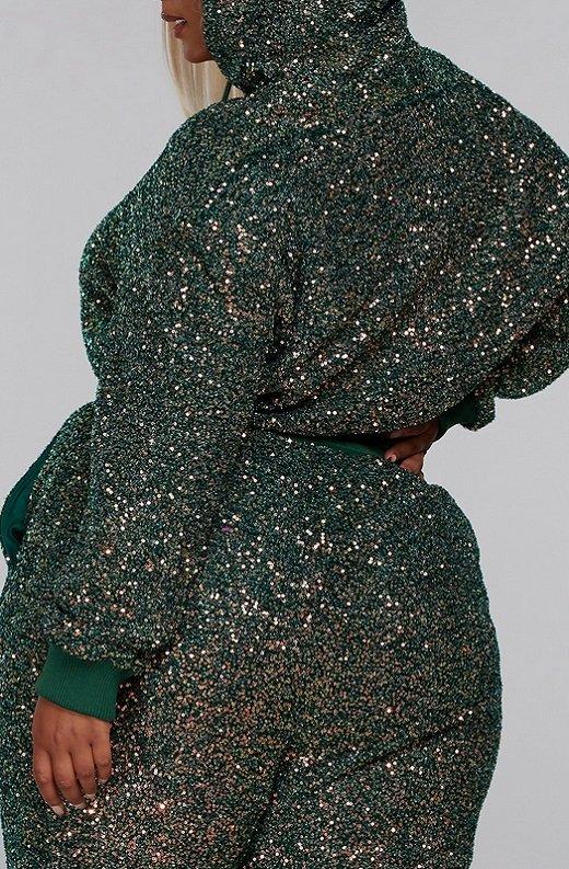 Olive Rhinestone Embellished Two Piece Hoodie Set Plus Size 4