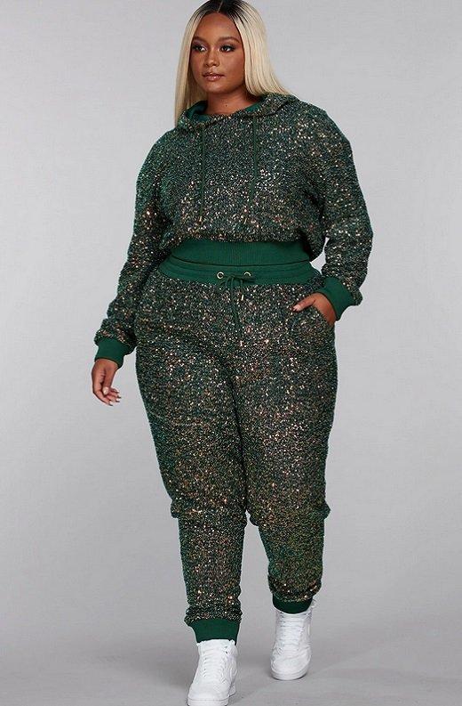Olive Rhinestone Embellished Two Piece Hoodie Set Plus Size 5