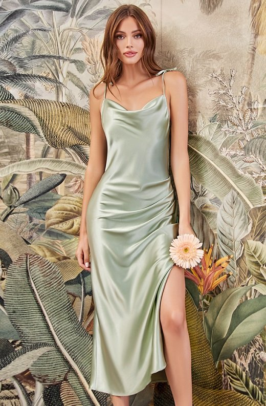 Sage Slim Satin Cowl Neck Bridesmaids Midi Dress 1