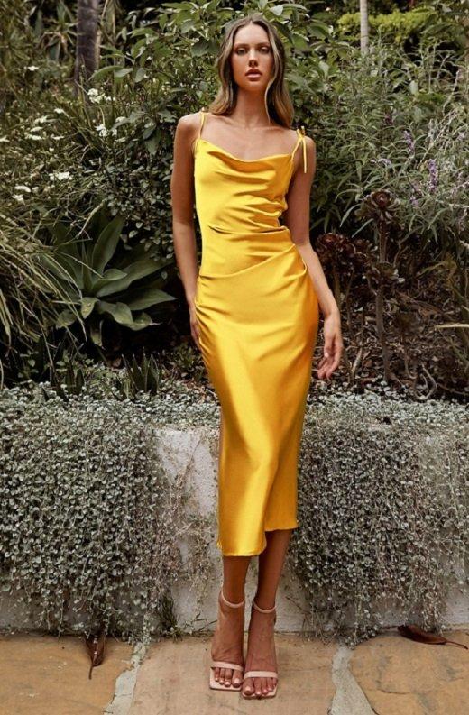 Yellow Slim Satin Cowl Neck Bridesmaids Midi Dress 1